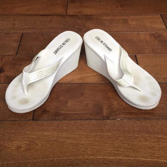 Shoes   White Wedge Flip Flops   Poshmark
